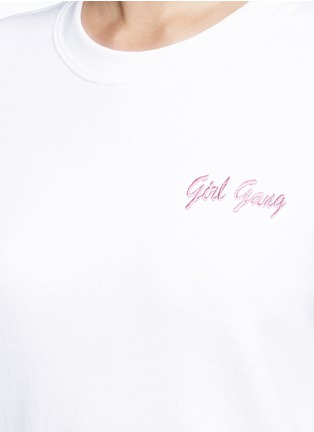 Detail View - Click To Enlarge - DOUBLE TROUBLE - 'Girl Gang' embroidered fleece sweatshirt