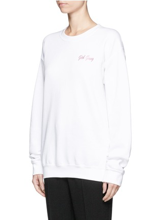 Front View - Click To Enlarge - DOUBLE TROUBLE - 'Girl Gang' embroidered fleece sweatshirt