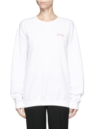 Main View - Click To Enlarge - DOUBLE TROUBLE - 'Girl Gang' embroidered fleece sweatshirt