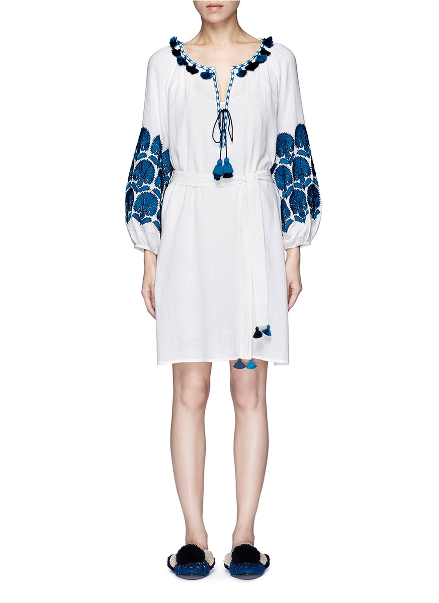 Coco tassel pompom floral embroidered dress by Figue
