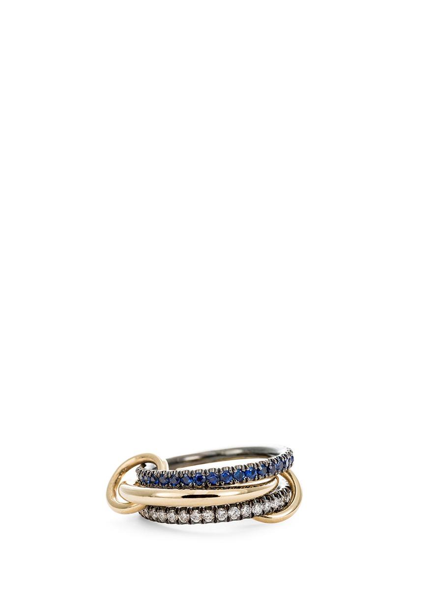 Celeste Sapphire diamond and sapphire 18k gold ring by Spinelli Kilcollin