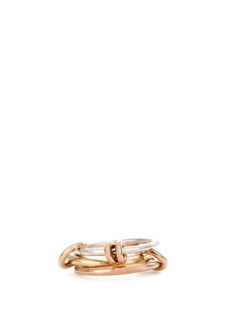Raneth mixed 18k gold connector ring by Spinelli Kilcollin