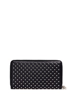 Skull charm stud leather continental wallet