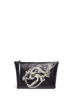 Alexander McQueenLion skull print leather zip pouch