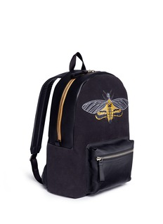 Alexander McQueen Skull moth embroidery panelled suede backpack
