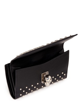 Detail View - Click To Enlarge - Alexander McQueen - Skull charm stud leather French wallet