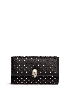 Alexander McQueen Skull charm stud leather French wallet