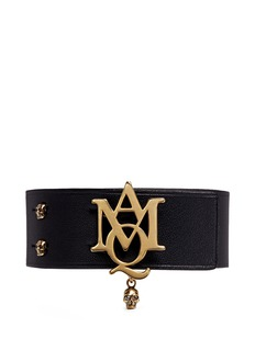 Alexander McQueenAMQ skull charm leather bracelet