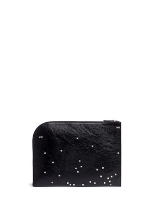 Back View - Click To Enlarge - Alexander McQueen - Pixel skull stud zip pouch