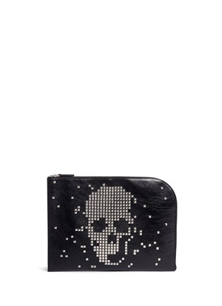 Main View - Click To Enlarge - Alexander McQueen - Pixel skull stud zip pouch