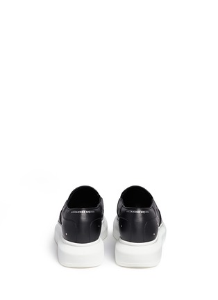Back View - Click To Enlarge - Alexander McQueen - 'Larry' stud pixel skull platform leather skate slip-ons