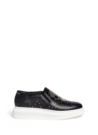 Main View - Click To Enlarge - Alexander McQueen - 'Larry' stud pixel skull platform leather skate slip-ons