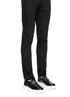 Alexander McQueen'Larry' stud pixel skull platform leather skate slip-ons