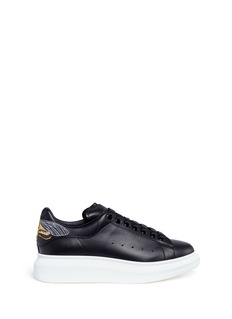 Alexander McQueen 'Larry' skull moth embroidered platform leather sneakers