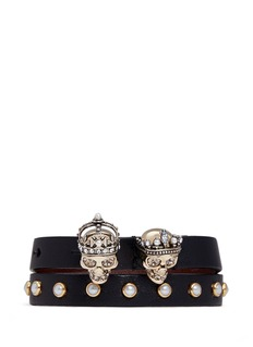 Alexander McQueen'King and Queen' skull double wrap leather bracelet