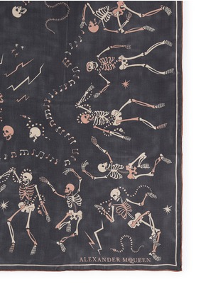 Detail View - Click To Enlarge - Alexander McQueen - 'Funny Bones Dance' skull print silk chiffon scarf