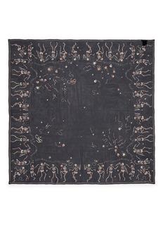 Alexander McQueen'Funny Bones Dance' skull print silk chiffon scarf