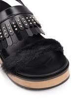 Stud patent leather kiltie wood platform sandals