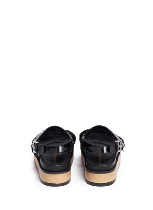 Back View - Click To Enlarge - Alexander McQueen - Stud patent leather kiltie wood platform sandals