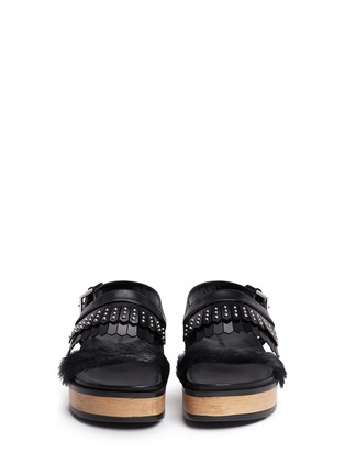 Front View - Click To Enlarge - Alexander McQueen - Stud patent leather kiltie wood platform sandals