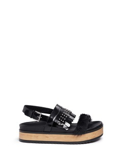 Alexander McQueen Stud patent leather kiltie wood platform sandals