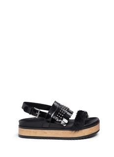 Alexander McQueenStud patent leather kiltie wood platform sandals