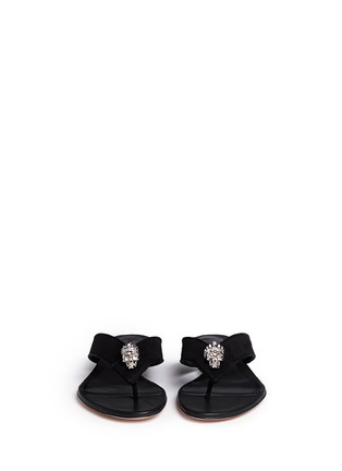 Front View - Click To Enlarge - Alexander McQueen - Crystal crown skull suede flip flops