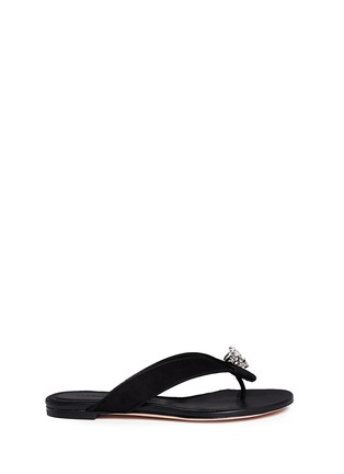Main View - Click To Enlarge - Alexander McQueen - Crystal crown skull suede flip flops