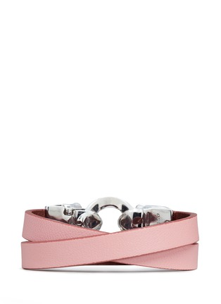 Figure View - Click To Enlarge - Alexander McQueen - Horsebit twin skull double wrap leather bracelet