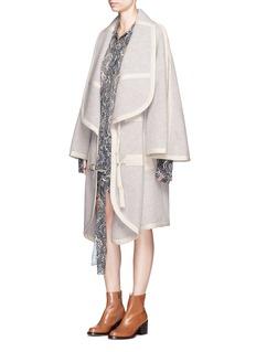 ChloéWide sleeve cotton trim llama blend coat