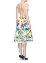Maiolica print open back cotton dress