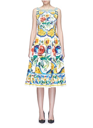 Main View - Click To Enlarge - Dolce & Gabbana - Maiolica print open back cotton dress