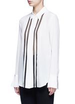 'Alwinth' lace insert pleated silk shirt