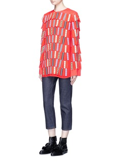Emilio Pucci Check star print glove finger fringe top