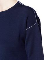 Contrast seam side split wool sweater