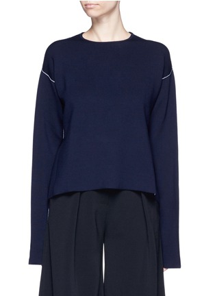 Main View - Click To Enlarge - Ports 1961 - Contrast seam side split wool sweater