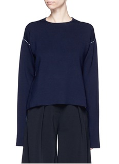 Ports 1961 Contrast seam side split wool sweater