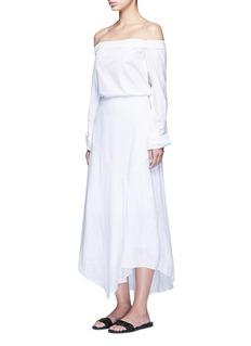 THEORY'Halvinnie' handkerchief hem linen skirt