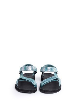 Front View - Click To Enlarge - Teva - 'Original Universal Iridescent' snakeskin embossed leather sandals