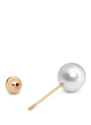 Detail View - Click To Enlarge - Sophie Bille Brahe - 'Elipse Simple' pearl 14k gold single earring