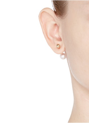 Figure View - Click To Enlarge - Sophie Bille Brahe - 'Elipse Simple' pearl 14k gold single earring