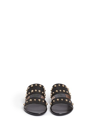 Front View - Click To Enlarge - Lanvin - Dome stud leather slide sandals