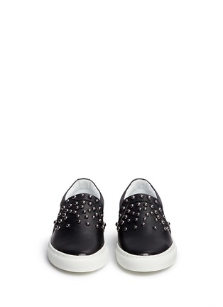 Front View - Click To Enlarge - Lanvin - 'Basket' stud leather skate slip-ons