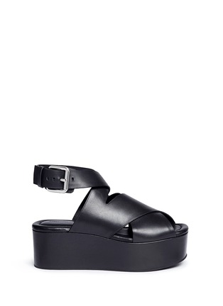 Main View - Click To Enlarge - Alexander Wang  - 'Rudy' crisscross leather platform sandals