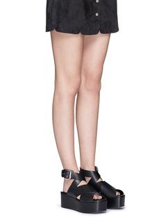 ALEXANDER WANG 'Rudy' crisscross leather platform sandals