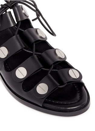 Detail View - Click To Enlarge - Alexander Wang  - 'Patricia' rivet lace-up leather flat sandals