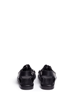 Back View - Click To Enlarge - Alexander Wang  - 'Patricia' rivet lace-up leather flat sandals