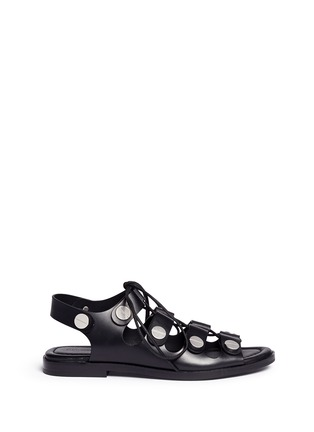 Main View - Click To Enlarge - Alexander Wang  - 'Patricia' rivet lace-up leather flat sandals
