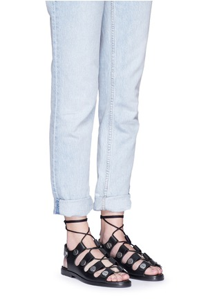 Figure View - Click To Enlarge - Alexander Wang  - 'Patricia' rivet lace-up leather flat sandals