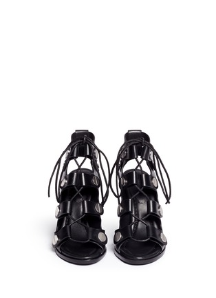 Front View - Click To Enlarge - Alexander Wang  - 'Ilse' rivet lace-up leather sandals